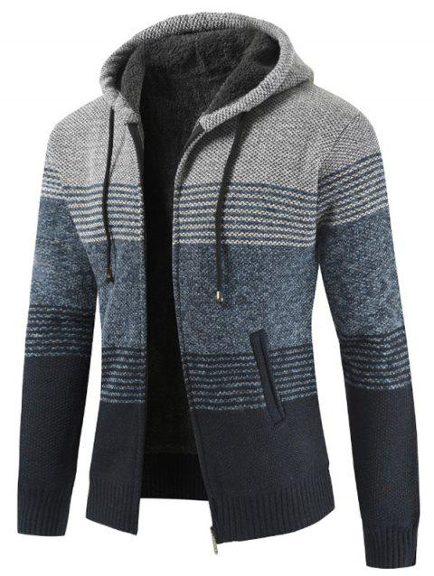 Color Block Zipper Hoodie Sweater - LIGHT GRAY XS