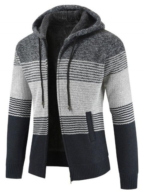 Color Block Zipper Hoodie Sweater - GRAY XS
