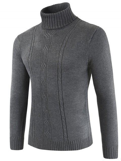 Turtle Collar Solid Color Knitted Sweater - GRAY L