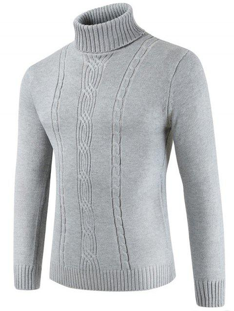 Turtle Collar Solid Color Knitted Sweater - LIGHT GRAY XL