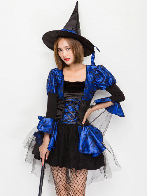 Hit Color Lace Up Halloween Dress - BLUE L
