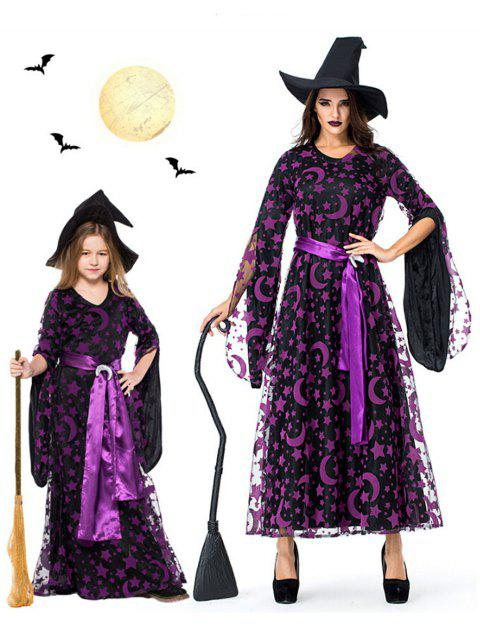 Halloween Moon Star Mother Child Dress - multicolor GIRL 125