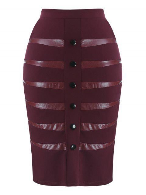 Plus Size PU Detail Skirt - RED WINE 2X