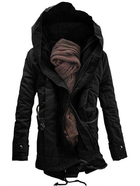 Casual Hooded Double Zip Up Padded Parka Coat - BLACK M