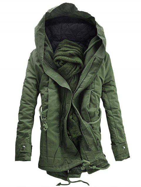Casual Hooded Double Zip Up Padded Parka Coat - ARMY GREEN M