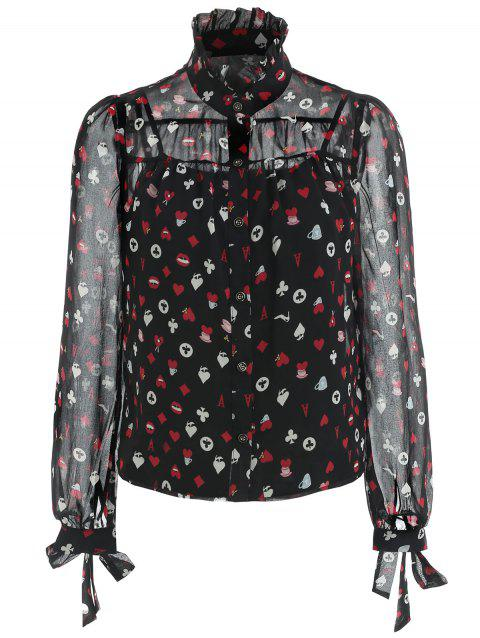 Peach Hearts Long Sleeve Button Up Blouse - BLACK S