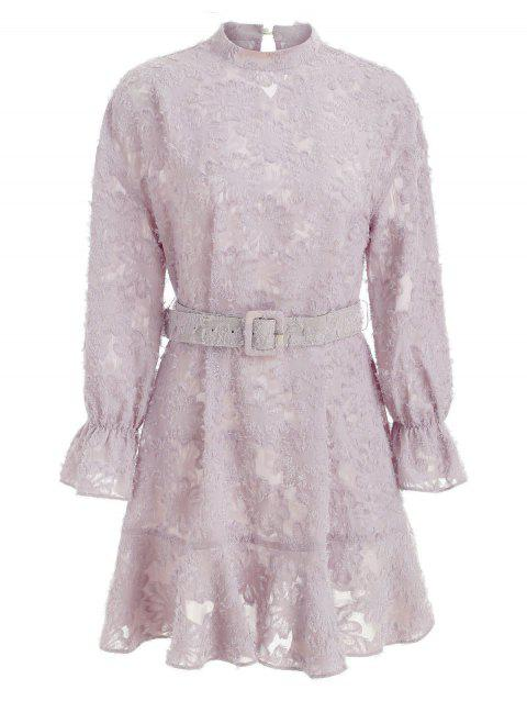 Long Sleeve Ruffled Trim Belted Floral Dress - WISTERIA PURPLE L