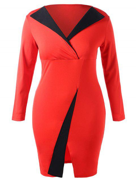 Plus Size Contrast Pencil Dress - RED 1X