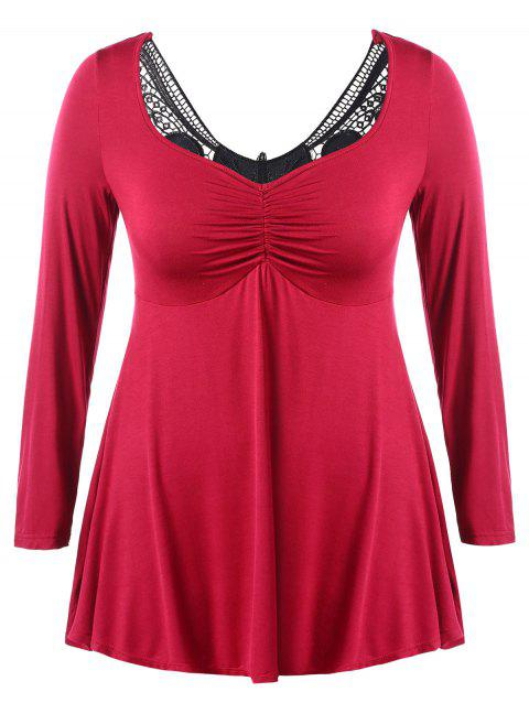 Plus Size Lace Panel Ruched Empire Waist Tee - RED 1X