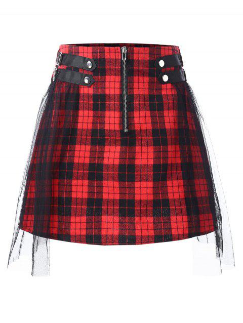 Mesh Panel Half Zipper Tartan Skirt - RED M
