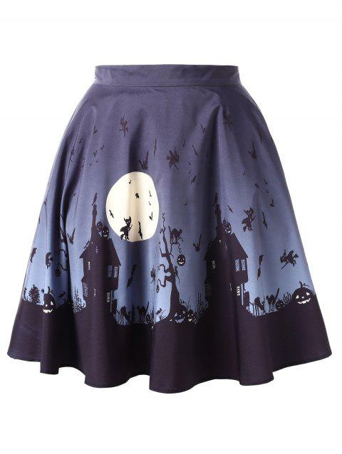 Halloween Plus Size Mini A Line Skirt - multicolor 3X