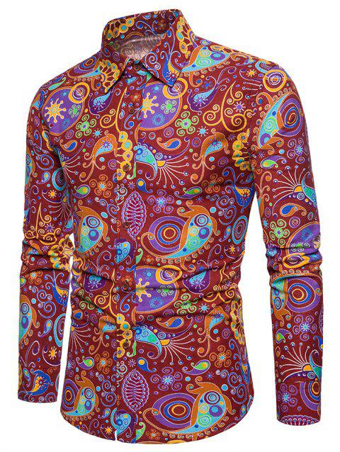 Allover Colorful Patterning Printed Button Up Shirt - RED WINE XL