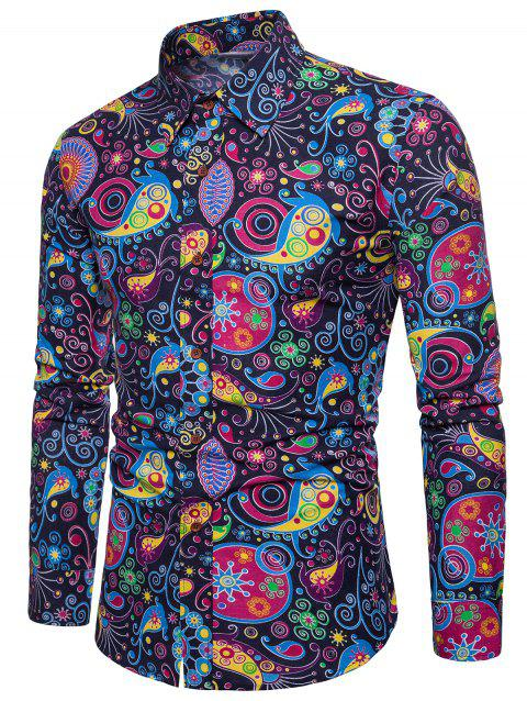Colorized Patterning Printed Long Sleeve Shirt - CADETBLUE XS