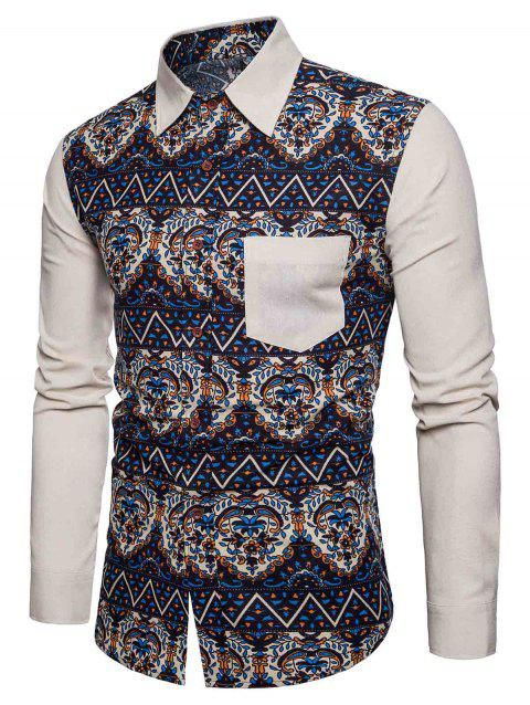 Ethnic Style Printed Button Up Shirt - LIGHT KHAKI L