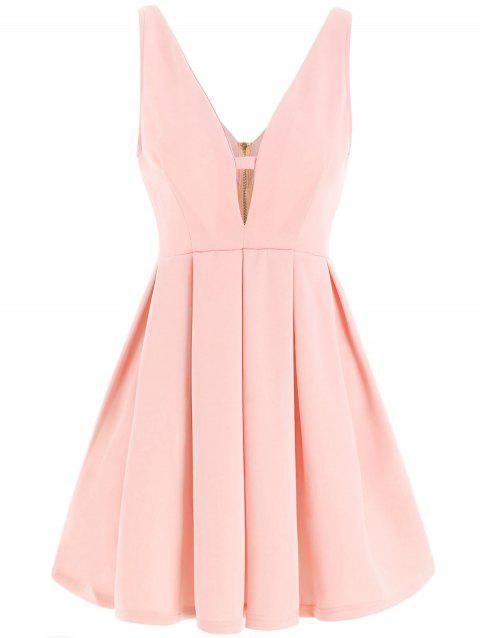 Fashion Plunging Neck Sleeveless Zippered Solid Color Women's Dress - PINK M