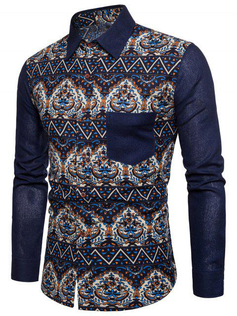 Ethnic Style Printed Button Up Shirt - CADETBLUE M