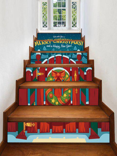 Christmas Wood Railing and Wreath Print Decorative Stair Stickers - multicolor 6PCS X 39 X 7 INCH( NO FRAME )