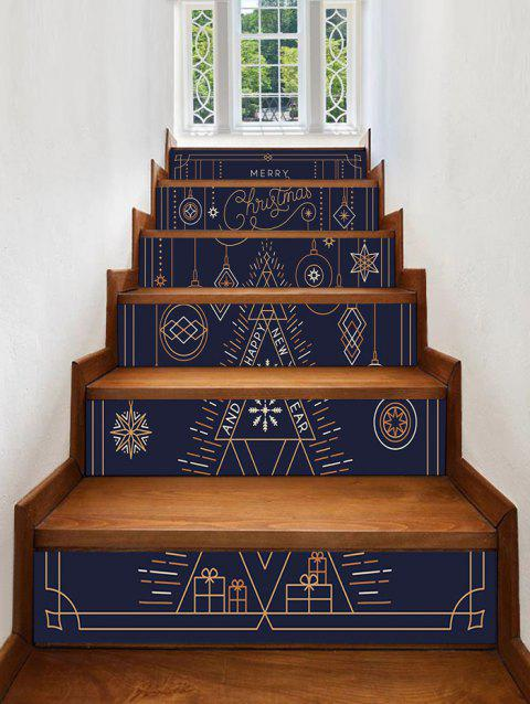 Christmas Ball Stick Figure Print Removable Stair Stickers - multicolor 6PCS X 39 X 7 INCH( NO FRAME )