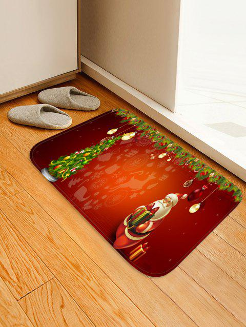 Christmas Tree and Santa Print Non-slip Area Rug - RED W20 X L31.5 INCH