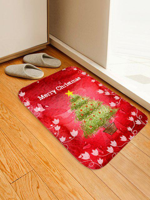 Christmas Tree Pot Letter Print Non-slip Area Rug - RED W16 X L24 INCH