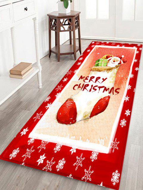 Christmas Sock Santa Snow Print Non-slip Area Rug - RED W24 X L71 INCH