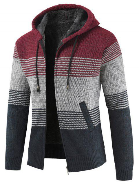 Color Block Zipper Hoodie Sweater - CHESTNUT RED XS