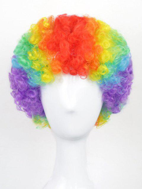 Football Fan Short Rainbow Afro Curly Halloween Christmas Party Synthetic Wig - multicolor