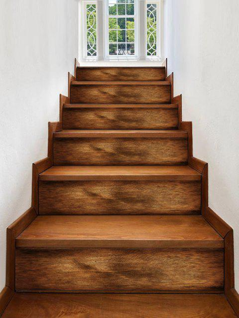 Wood Grain Pattern Stair Stickers - WOOD 6PCS X 39 X 7 INCH( NO FRAME )