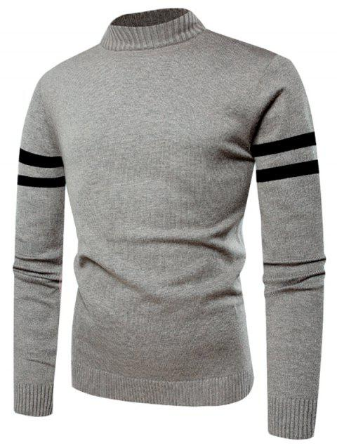 Stand Collar Stripe Sleeve Sweater - GRAY CLOUD M