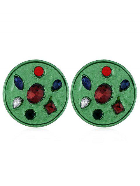 Faux Gem Inlaid Alloy Round Earrings - PINE GREEN