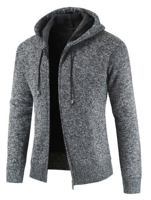 Zipper Placket Drawstring Hooded Sweater - GRAY M