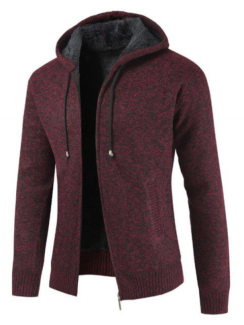 Zipper Placket Drawstring Hooded Sweater - RED WINE M