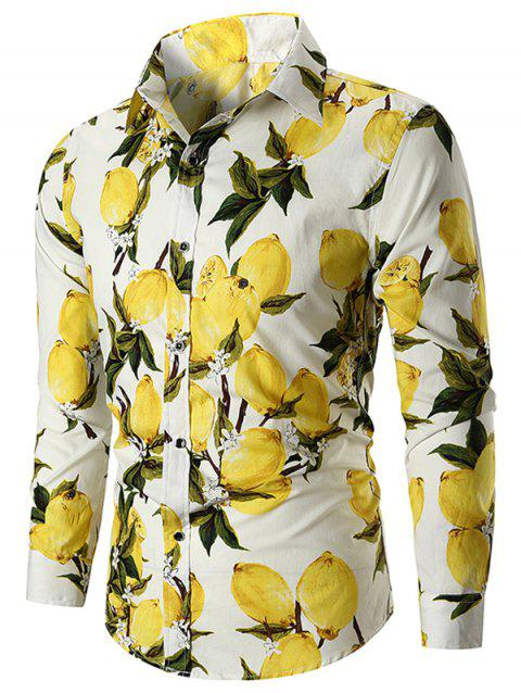 Casual Lemon Print Button Up Shirt - WHITE L