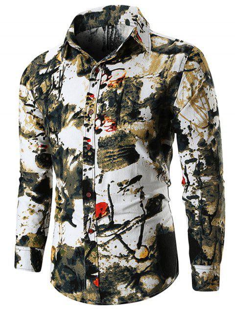 Ink Painting Long Sleeve Shirt - DARK GREEN XL