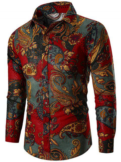 Ethnic Paisley Print Button Up Shirt - RED WINE XL