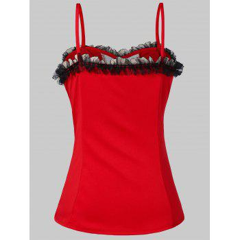 Lace Up Cami Strap Corset Top - RED 2XL