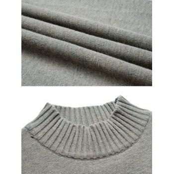 Stand Collar Stripe Sleeve Sweater - GRAY CLOUD L