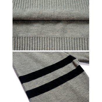 Stand Collar Stripe Sleeve Sweater - GRAY CLOUD XL