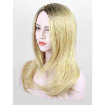 Middle Part Long Colormix Straight Party Synthetic Wig - GOLDENROD