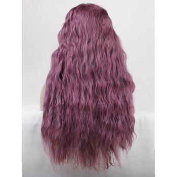 Long Inclined Bang Corn Hot Wavy Party Lace Front Synthetic Wig - PURPLE FLOWER 26INCH