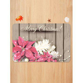 Christmas Flowers Wood Grain Pattern Anti-skid Area Rug - multicolor W16 X L24 INCH