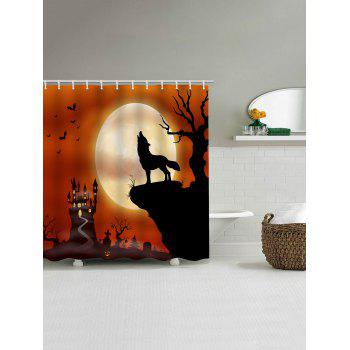 Wolf Moon Print Waterproof Shower Curtain - HALLOWEEN ORANGE W71 X L71 INCH