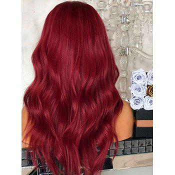 Middle Part Long Wavy Cosplay Heat Resistant Synthetic Wig - RED WINE