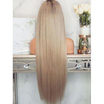 Middle Part Ombre Long Straight Cosplay Synthetic Wig - multicolor