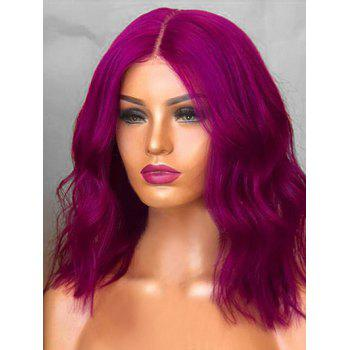 Medium Center Parting Natural Wavy Synthetic Party Wig - PURPLE FLOWER