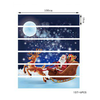Christmas Santa with Sleigh and Reindeer Print Removable Stair Stickers - multicolor 6PCS X 39 X 7 INCH( NO FRAME )