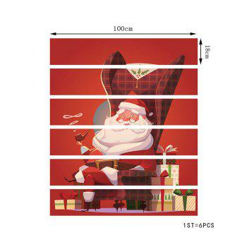 Christmas Santa Claus Gifts Pattern Stair Stickers - RED 6PCS X 39 X 7 INCH( NO FRAME )