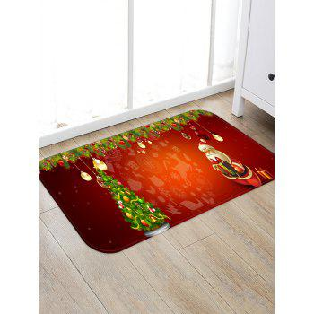 Christmas Tree and Santa Print Non-slip Area Rug - RED W16 X L24 INCH