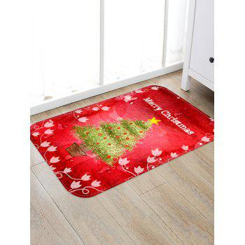 Christmas Tree Pot Letter Print Non-slip Area Rug - RED W20 X L31.5 INCH