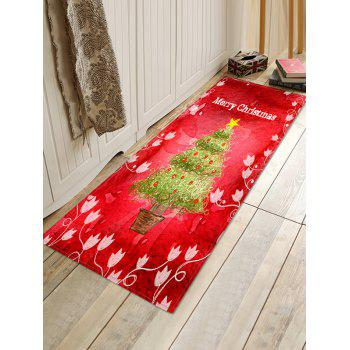 Christmas Tree Pot Letter Print Non-slip Area Rug - RED W16 X L47 INCH
